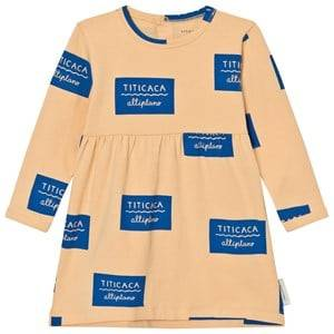 Tinycottons Girls Dresses Beige Titicaca Badge Dress Nude/Blue