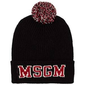 MSGM Boys Headwear Black Black Red Pom Pom Beanie