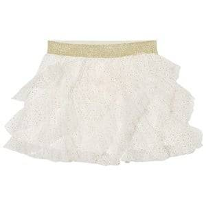 Billieblush Girls Skirts Cream Cream Gold Glitter Ruffled Tutu Skirt