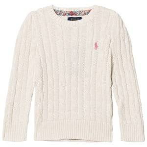 Ralph Lauren Girls Jumpers and knitwear White Classic Cable Knit Sweater Warm White