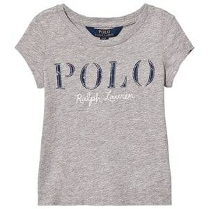 Ralph Lauren Girls Tops Grey Short Sleeve Floral Applique Tee Grey