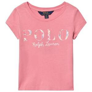 Ralph Lauren Girls Tops Pink Short Sleeve Floral Applique Tee Pink
