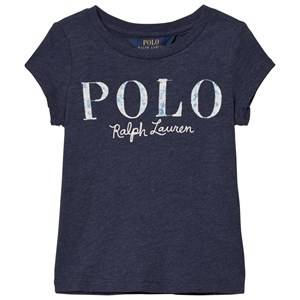Ralph Lauren Girls Tops Blue Short Sleeve Floral Applique Tee Blue
