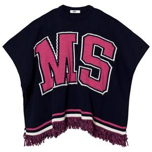 MSGM Girls Coats and jackets Navy Navy and Pink Logo Knit Cape