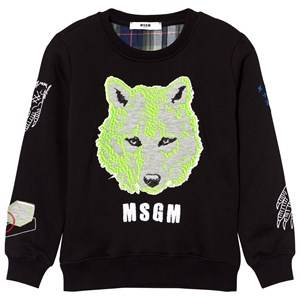 MSGM Boys Jumpers and knitwear Black Black Wolf Embroidered Sweatshirt