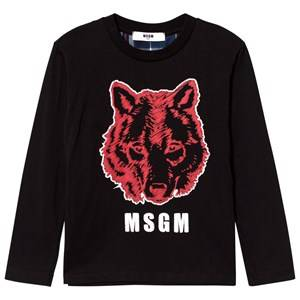 MSGM Boys Tops Black Black Wolf Graphic Tee