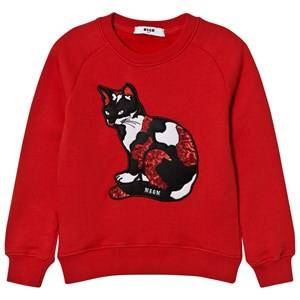 MSGM Girls Jumpers and knitwear Red Red Sequin Cat Sweatshirt