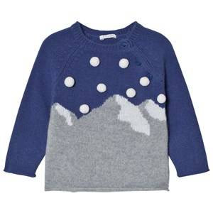 Il Gufo Boys Jumpers and knitwear Blue Blue Mountain Intarsia Pom Pom Sweater
