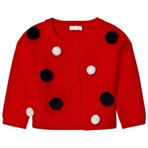 Il Gufo Girls Jumpers and knitwear Red Red Multi Pom Pom Cardigan