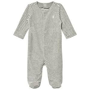 Ralph Lauren Boys All in ones Grey Striped Velour Footed Baby Body