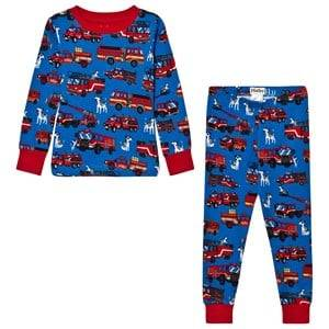 Hatley Boys Nightwear Blue Blue Fire Truck Print Pyjamas