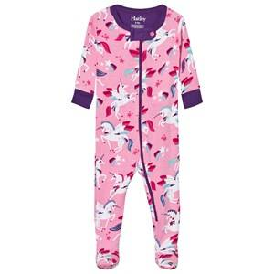 Hatley Girls All in ones Pink Pink Unicon Print Footed Baby Body