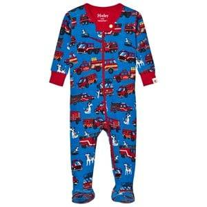 Hatley Boys All in ones Blue Blue Fire Truck Print Footed Baby Body
