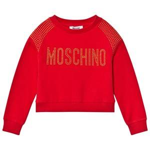 Moschino Kid-Teen Girls Jumpers and knitwear Red Red Studded Logo Sweatshirt
