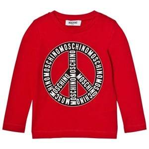 Moschino Kid-Teen Boys Tops Red Red Branded Peace Long Sleeve Tee