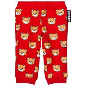 Moschino Kid-Teen Unisex Bottoms Red Red All Over Bear Print Sweatpants