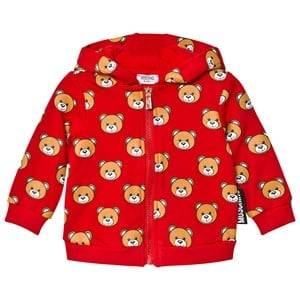 Moschino Kid-Teen Unisex Jumpers and knitwear Red Red Bear Print Hoodie