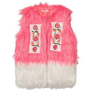 Billieblush Girls Coats and jackets Pink Faux Fur Gilet in Pink/White
