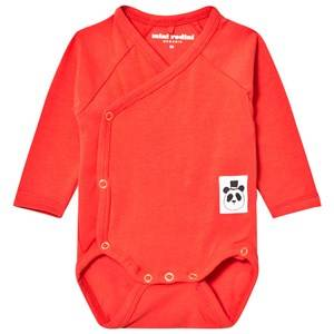 Mini Rodini Unisex All in ones Red Basic Wrap Baby Body Red