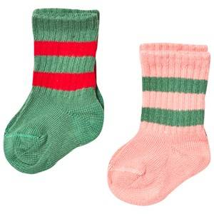 Mini Rodini Unisex Underwear Pink 2 Pack Stripe Sock Pink/Green