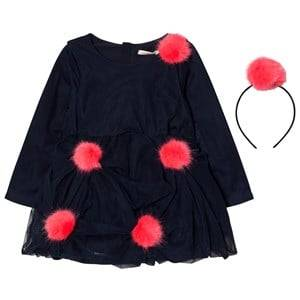 Billieblush Girls Dresses Navy Navy Tulle Pom Pom Dress