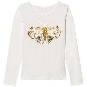Billieblush Girls Tops White Ivory Beaded Moth Tee