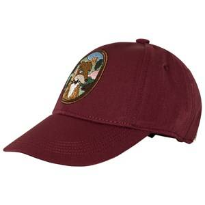 Mini Rodini Unisex Headwear Red Fox Embroidered Cap Burgundy