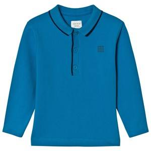 Carrément Beau Boys Tops Blue Blue Long Sleeve Pique Polo Shirt