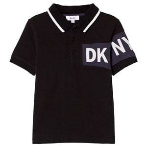 DKNY Boys Tops Black Black and Blue Branded Pique Polo