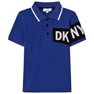 DKNY Boys Tops Blue Blue and Black Branded Pique Polo