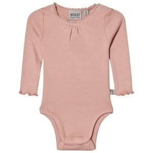 Wheat Girls All in ones Pink Baby Body Rib Lace Misty Rose