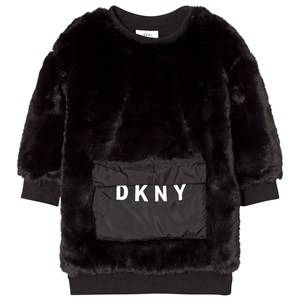 DKNY Girls Dresses Black Black Faux Fur Dress with Branded Pocket