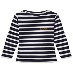 Maison Labiche Girls Tops Navy Navy Sunshine Embroidered Stripe Long Sleeve Tee