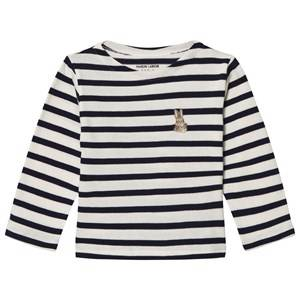 Maison Labiche Girls Tops Navy Navy Bunny Embroidered Stripe Long Sleeve Tee