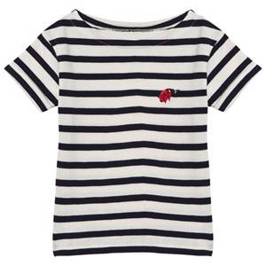 Maison Labiche Girls Tops Navy Navy Ladybird Embroidered Tee