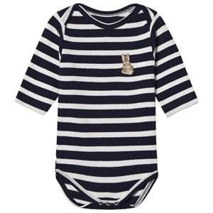 Maison Labiche Girls All in ones Navy Bunny Embroidered Baby Body Navy