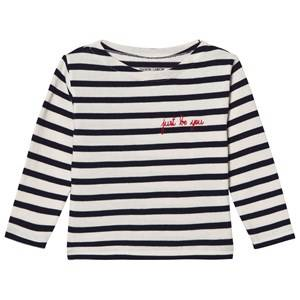 Maison Labiche Girls Tops Navy Just Be You Embroidered Long Sleeve Tee Classic