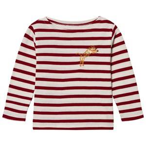 Maison Labiche Girls Tops Red Off-White Red Tiger Embroidered Long Sleeve Tee