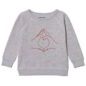 Maison Labiche Girls Jumpers and knitwear Grey Love Sign Sweatshirt Grey