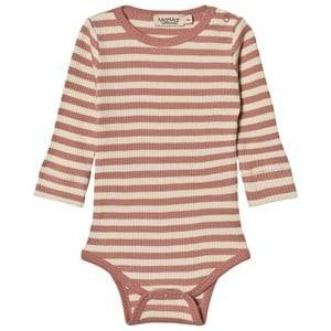 MarMar Copenhagen Unisex All in ones Pink Plain Baby Body Antique Rose Stripe