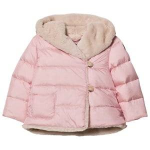 Il Gufo Girls Coats and jackets Pink Pink Faux Fur Lined Hooded Coat