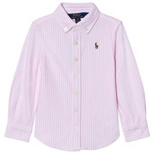Ralph Lauren Girls Tops Pink Pink/White Long Sleeve Striped Shirt