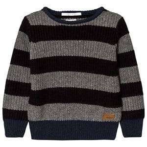 Pepe Jeans Boys Jumpers and knitwear Grey Grey/Charcoal Stripe Chunky Knit Sweater