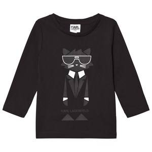 Karl Lagerfeld Kids Boys Tops Black Black Bad Cat Print Branded Tee