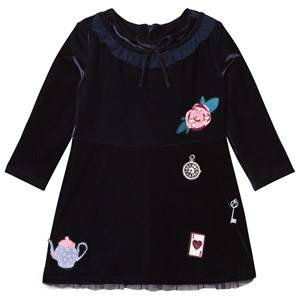 Billieblush Girls Dresses Navy Velvet Tea Party Applique Dress Navy