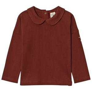 Gray Label Unisex Tops Red Collar Long Sleeve Tee Burgundy