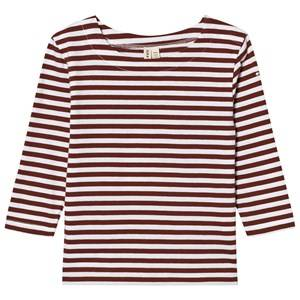 Gray Label Unisex Tops Red Long Sleeve Striped Tee Burgundy/White Stripes