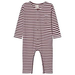 Gray Label Unisex All in ones Red Long Sleeve Playsuit Burgundy/White Stripes