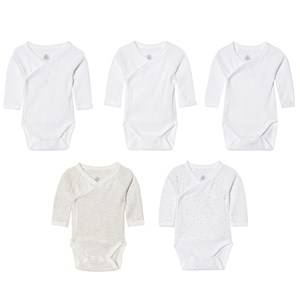 Petit Bateau Unisex All in ones White Multi Pattern White Wrap Bodies (5 Pack)