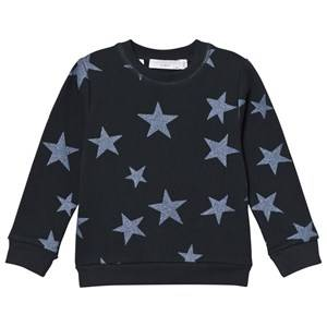 Stella McCartney Kids Girls Jumpers and knitwear Black Navy Glitter Star Print Sweatshirt
